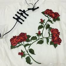 rose flower iron on patches embroidered patch for clothing jean jacket parches cheongsam cocktail dress fabric patchwork appliques diy iron on patches patch