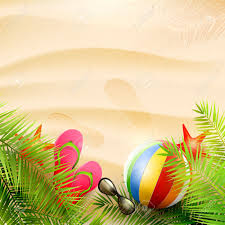summer background summer background with with palm leaves beach ball sunglasses