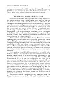 effect of the hipaa privacy rule on health research beyond the  page 239