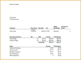 Excel Paystub Template Free Pay Stub Template Excel Download Free