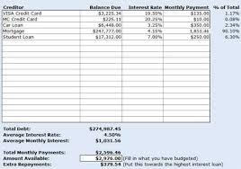 Credit Card Debt Excel Template Credit Card Debt Spreadsheet Spring Tides Org