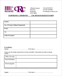 Staff Holiday Form Template Paid Time Off Request Form Sample ...