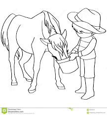 Vettore Dei Cavalli Di Alimentazione Dei Bambini Del Libro Da