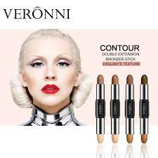 china veronni 4 colors 2 in 1 double end contour makeup highlight brighten concealer stick face makeup cream pen contour palette china highlight