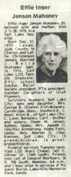 Rodney and Emeline Mahoney: Death info on Effie J Mahoney
