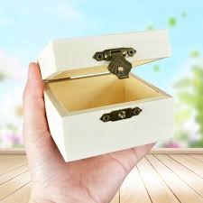 details about wooden craft square shape jewelry box with lock storage holder diy decoration