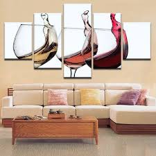 5 panel wine glass canvas hd prints painting wall art home decor noble sdd0b32r