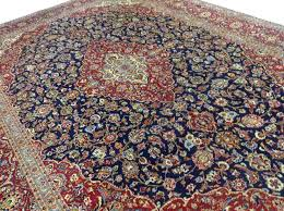 details about 9 7 x 14 navy blue persian kashan oriental rug fine hand knotted wool carpet