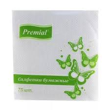 <b>Салфетки Premial</b> бумажные однослойные белые 75 шт. купить ...