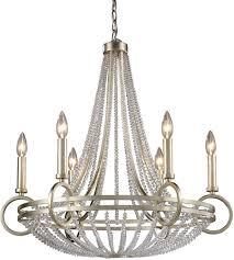 elk 31014 6 new york 6 light 27 inch renaissance silver leaf chandelier ceiling light
