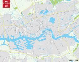 Fotobehang Vector Map Of Rotterdam Netherlands City Plan Rotterdam
