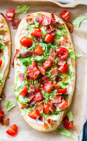 blt ranch flatbread from overhead on a pan