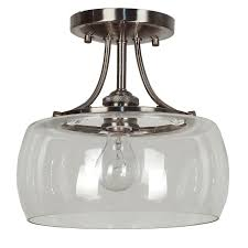 Semi Flush Mount Kitchen Lighting 80 Quoizel Soho 1062 In W Antique Nickel Clear Glass Semi