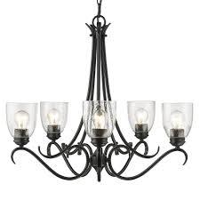 black chandelier lighting photo 5. Golden Lighting Parrish 5-Light Black Chandelier With Seeded Glass Shade Photo 5 T