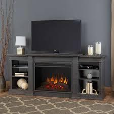 eliot grand antique gray entertainment center electric fireplace