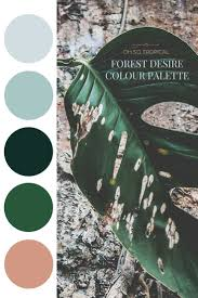 Forest Desire Palette - Blush sheets, the lighter gray for the bedding Lots  of plant life in the various greens.