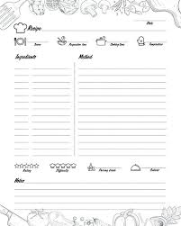 Recipe Journal Template Blank Recipe Book
