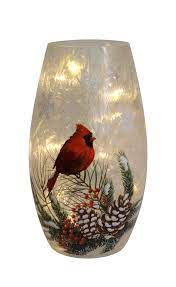 3 25 X7 25 Evergreen Cardinals Light Up Glass Vase