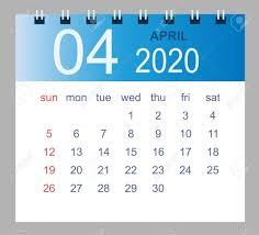 April 2020 Template April 2020 Vector Monthly Calendar Template 2020 Year In Simple