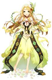anime with blonde hair green eyes yellow dress headband choker and leaves