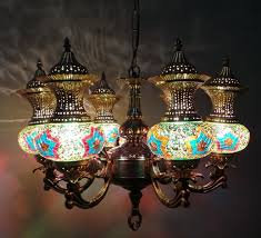 ancient 6 light moroccan design chandelier with brass finish