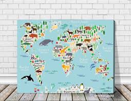 animals world map canvas prints for children and kids room world map canvas print nursery canvas wall art cartoon animals map canvas on childrens canvas wall art with animals world map canvas prints for children and kids room world