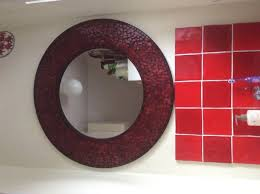 large round red glass mosaic mirror for