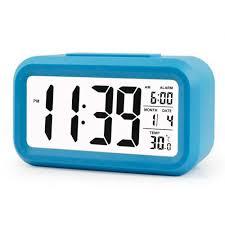 2018 digital alarm clock large hd display snooze smart soft light progressive alarm electronic desktop digital table clocks new blue from hongheyu