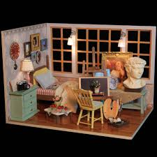building doll furniture. Cuteroom Diy Doll House Miniature Wooden Handmade Model Building Kits Birthday Gift Beautiful Time Furniture O