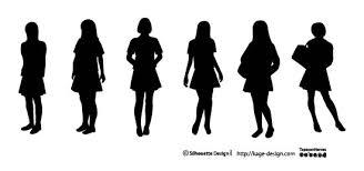女子高生のシルエット素材 シルエットデザイン