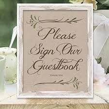 Amazon Com Please Sign Our Guestbook Sign Wedding Signs Rustic
