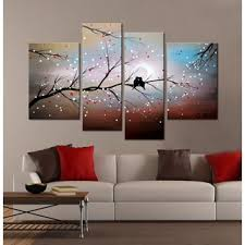 >shop design art romantic love birds painting 55x32 inch 4 piece  clay alder home love on the branch 4 piece hand painted gallery