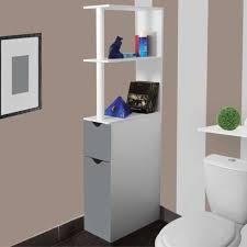 IDMARKET   Meuble WC étagère Bois Gain De Place Pour Toilette 2 Portes  Grises