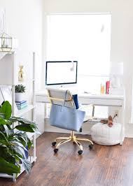White airy home office Inspiration In The Meantime The Sunroom Space In Our Current Apartment Has Been An Absolute Dream To Use As Home Office Its So Light And Airy Whitney Blake Light Airy Office Tour Whitney Blake