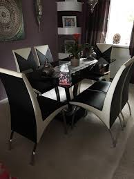 black chrome cream dining table 6 chairs