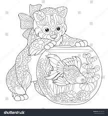 Coloring Page Of Kitten Wondering About Goldfish In Aquarium