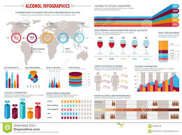 Alcohol Chart Alcohol Drinks Consumption Infographics Design Stock Vector