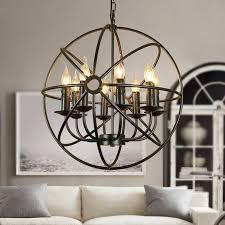 industrial retro loft style chandelier wrought iron globe cage pendant light