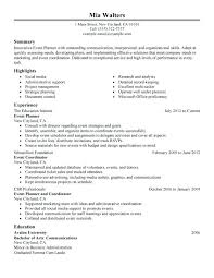 Event Planner Sample Resume Event Coordinator Resume Icon Event
