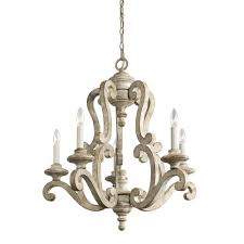 kichler 43256daw hayman bay collection chandelier 5 light in distressed antique white