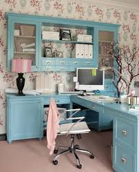 office decor ideas for work. Floral Wallpaper For Feminine Work Office Decorating Ideas Women With Teal Desk And Nice Swivel Chair Decor
