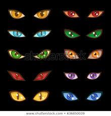 danger monster evil glow eyes expressions on dark black background vector ilration