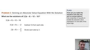 algebra 1 3 7 absolute value equations inequalities problem 3 solving abs val eqn w no solution