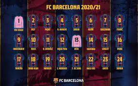 أرقام قمصان لاعبي برشلونة في القائمة الجديدة لموسم 21/2020