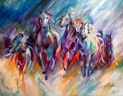 m baldwin original oil painting wild horse running herd marcia baldwin