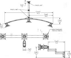 dual arm wall mount triple monitor