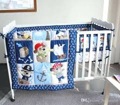 active printing cotton baby boy crib bedding set blue pirate anchor cot comforter per hot