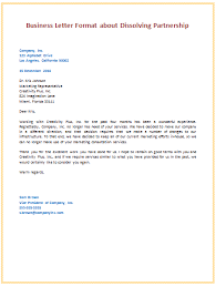 Letter To Business Template 6th Business Letter Format About Dissolving Partnership Letters
