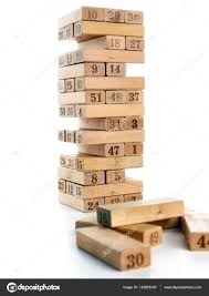 Game With Wooden Blocks Blocks of game jenga isolated on white background Vertical tower 68