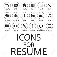 Contact Icons For Resume Icons Set Pour Votre CV CV Job Clip Art Libres De Droits 1
